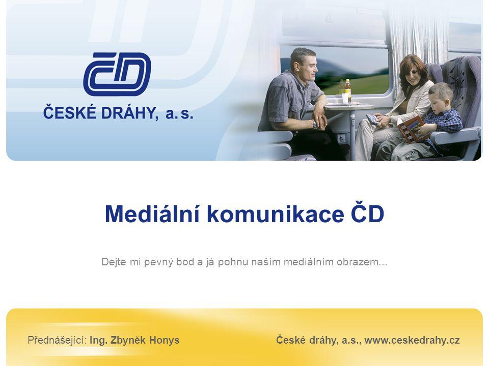 Mediální komunikace ČD Dejte mi pevný bod a já pohnu naším mediálním obrazem... Přednášející: Ing. Zbyněk HonysČeské dráhy, a.s., www.ceskedrahy.cz