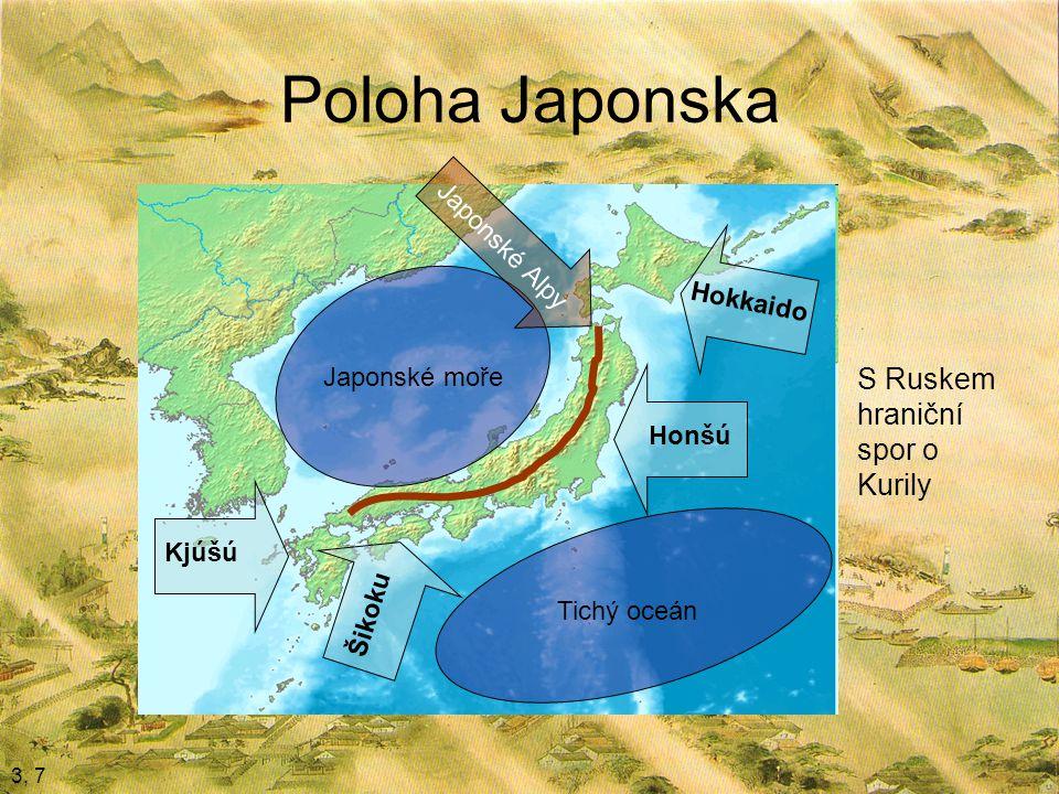Poloha Japonska 3, 7 Honšú Kjúšú Šikoku Hokkaido Japonské moře Tichý oceán Japonské Alpy S Ruskem hraniční spor o Kurily