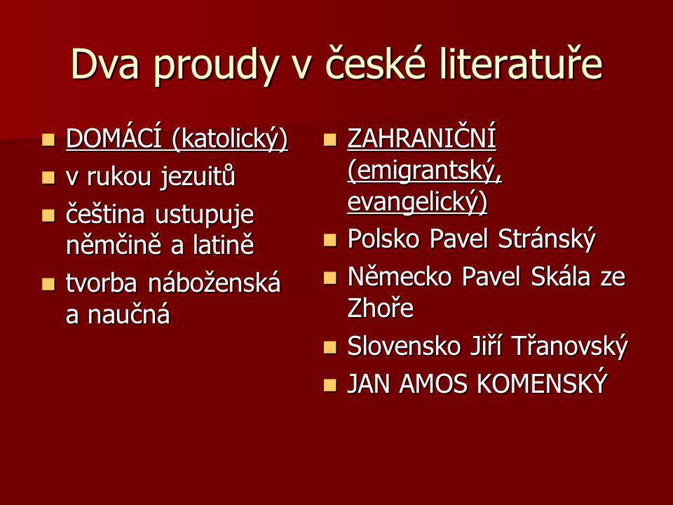 Dva proudy v české literatuře DOMÁCÍ (katolický) DOMÁCÍ (katolický) v rukou jezuitů v rukou jezuitů čeština ustupuje němčině a latině čeština ustupuje