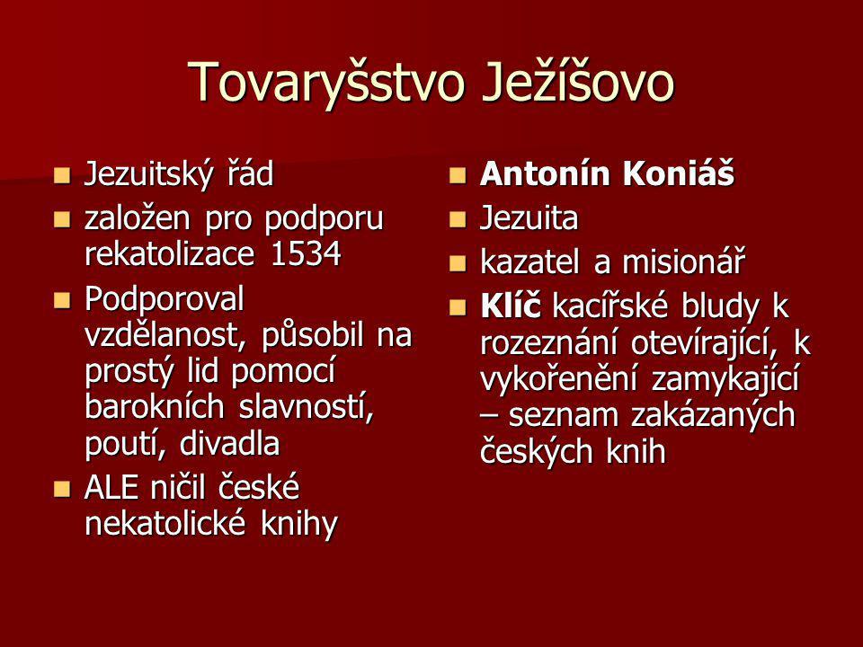 Tovaryšstvo Ježíšovo Jezuitský řád Jezuitský řád založen pro podporu rekatolizace 1534 založen pro podporu rekatolizace 1534 Podporoval vzdělanost, pů