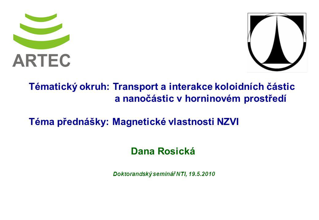 Výzkumné centrum Pokročilé sanační technologie a procesy Dana Rosická Doktorandský seminář NTI, 19.5.2010 Tématický okruh: Transport a interakce koloidních částic a nanočástic v horninovém prostředí Téma přednášky: Magnetické vlastnosti NZVI