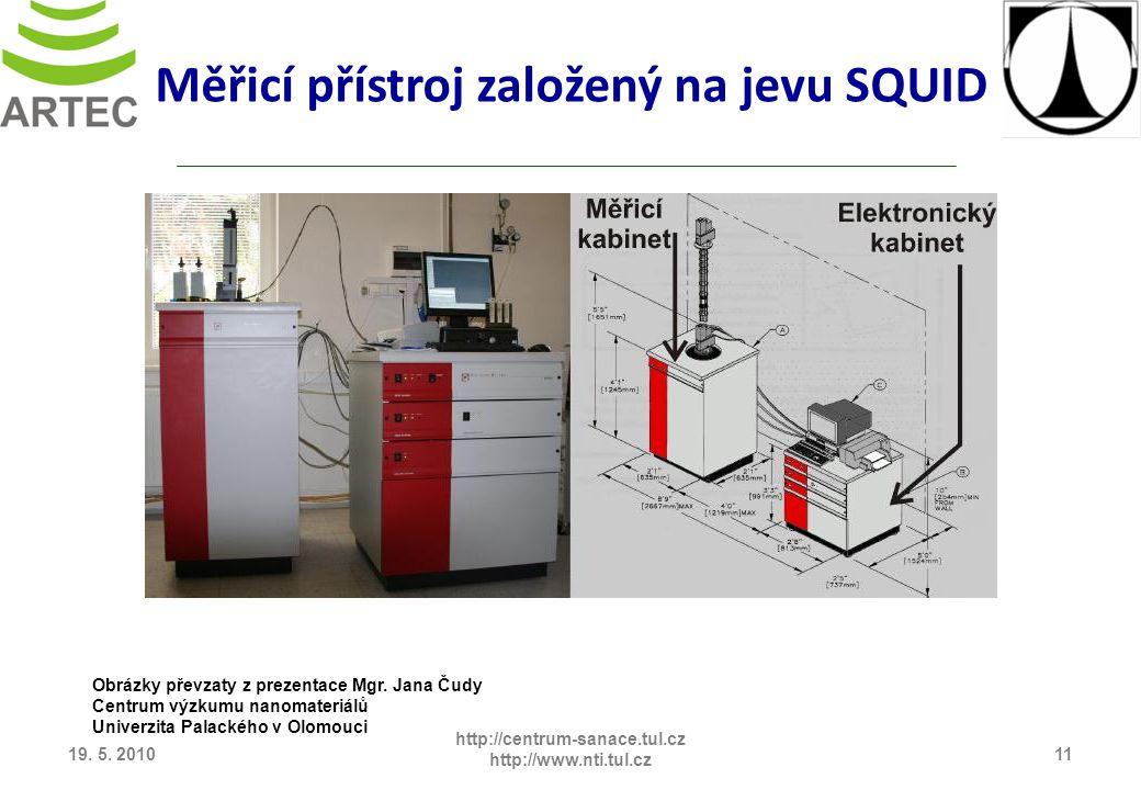 19. 5. 201011 http://centrum-sanace.tul.cz http://www.nti.tul.cz Měřicí přístroj založený na jevu SQUID Obrázky převzaty z prezentace Mgr. Jana Čudy C