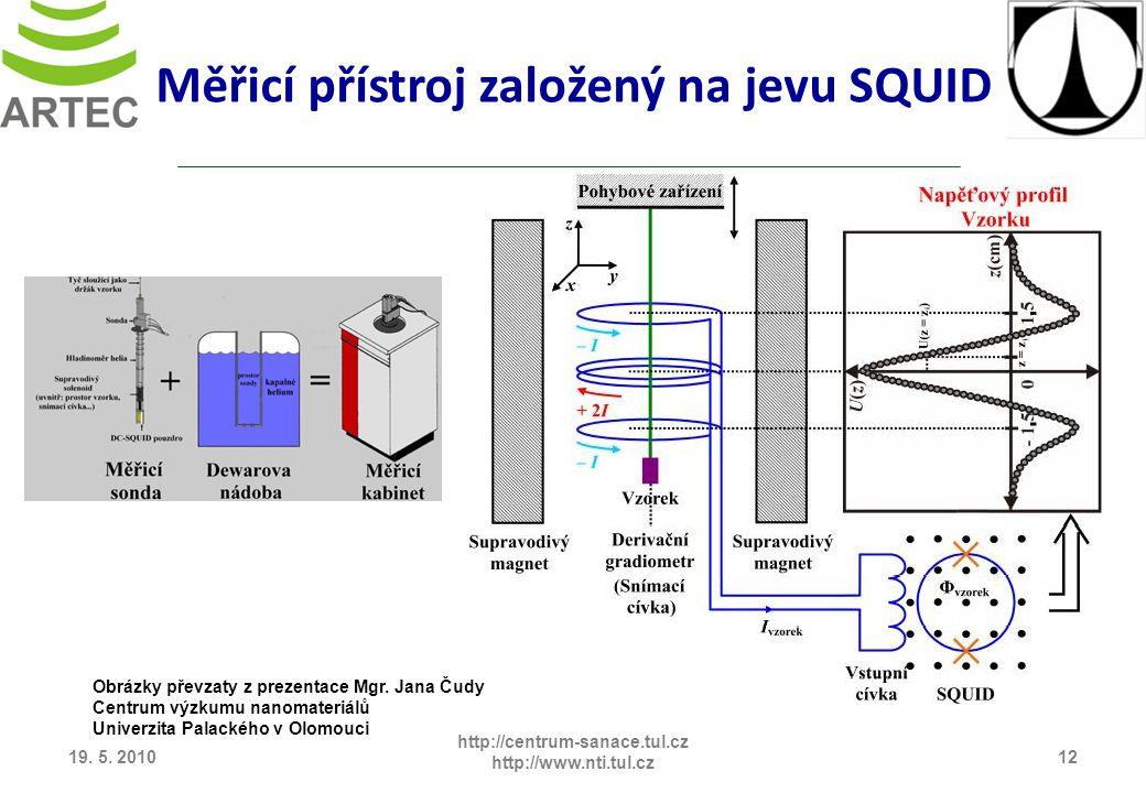 19. 5. 201012 http://centrum-sanace.tul.cz http://www.nti.tul.cz Měřicí přístroj založený na jevu SQUID Obrázky převzaty z prezentace Mgr. Jana Čudy C