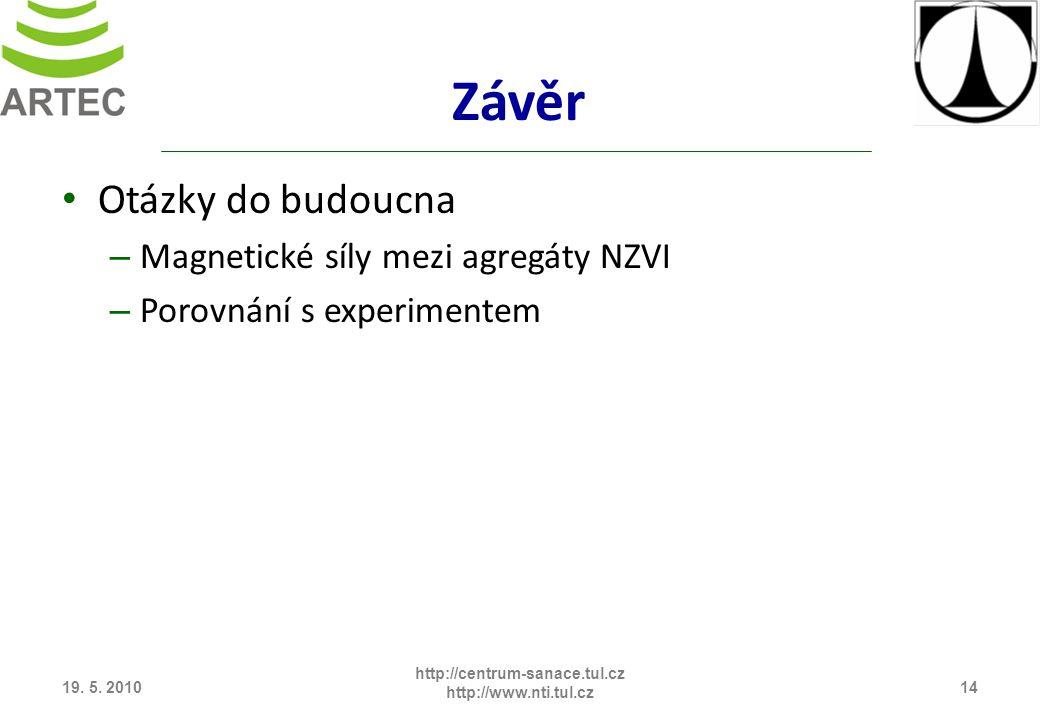 Závěr Otázky do budoucna – Magnetické síly mezi agregáty NZVI – Porovnání s experimentem 19. 5. 201014 http://centrum-sanace.tul.cz http://www.nti.tul