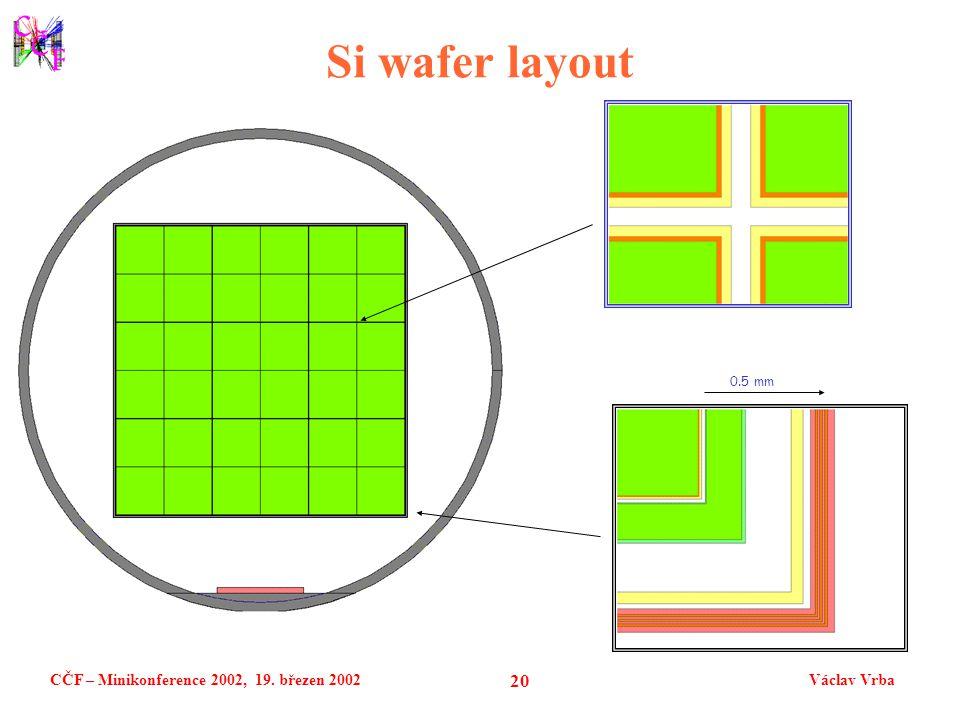 CČF – Minikonference 2002, 19. březen 2002Václav Vrba 20 Si wafer layout 0.5 mm