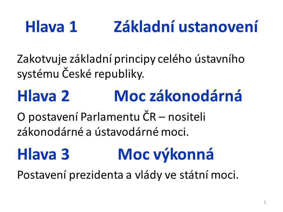 Hlava 1 Základní ustanovení Zakotvuje základní principy celého ústavního systému České republiky. Hlava 2 Moc zákonodárná O postavení Parlamentu ČR –