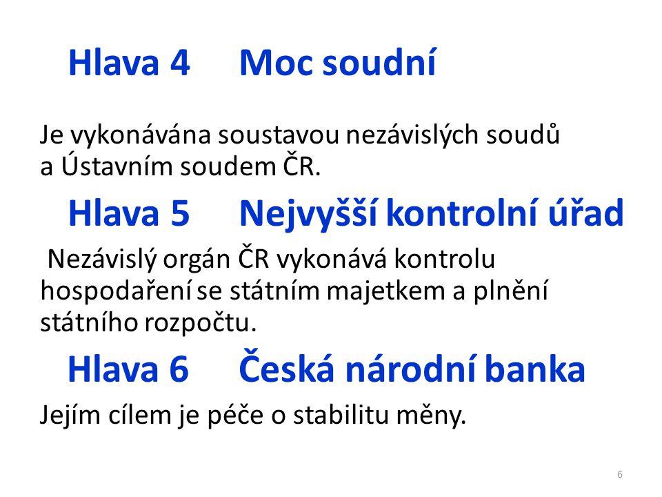 Hlava 4Moc soudní Je vykonávána soustavou nezávislých soudů a Ústavním soudem ČR.