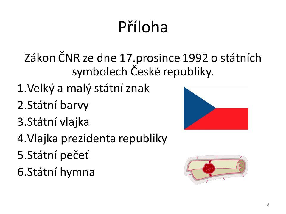 Příloha Zákon ČNR ze dne 17.prosince 1992 o státních symbolech České republiky. 1.Velký a malý státní znak 2.Státní barvy 3.Státní vlajka 4.Vlajka pre