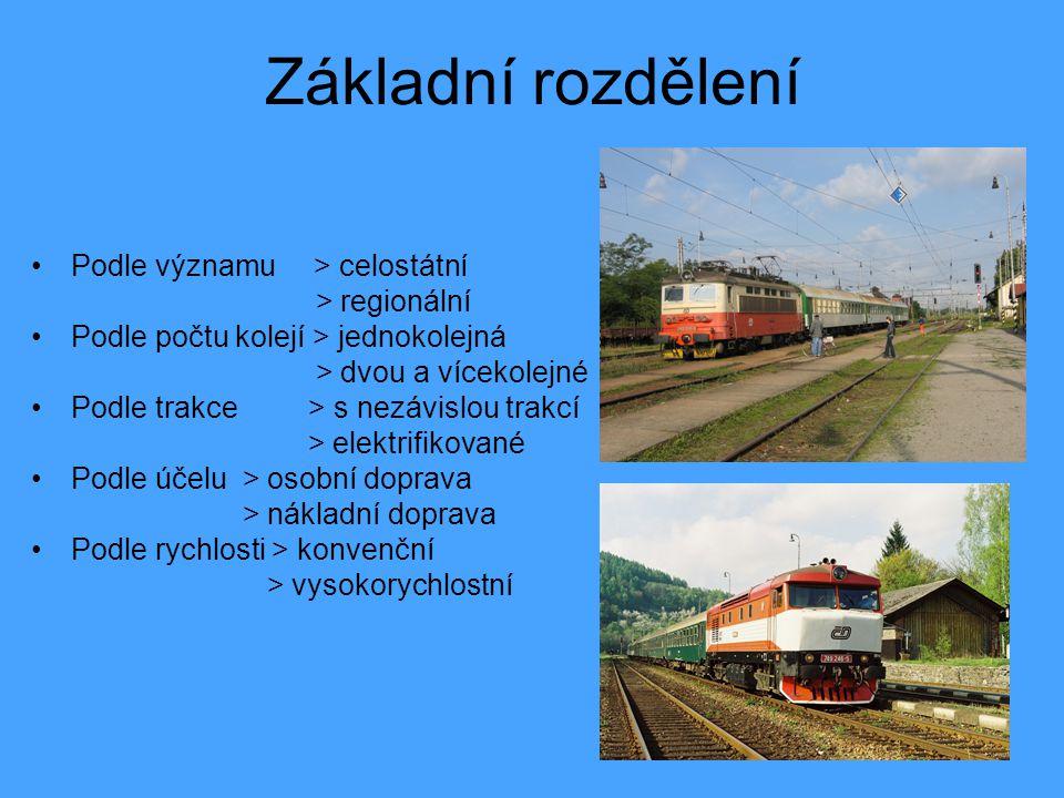 Základní rozdělení Podle významu > celostátní > regionální Podle počtu kolejí > jednokolejná > dvou a vícekolejné Podle trakce > s nezávislou trakcí > elektrifikované Podle účelu > osobní doprava > nákladní doprava Podle rychlosti > konvenční > vysokorychlostní