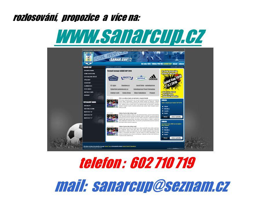 rozlosování, propozice a více na: www.sanarcup.cz telefon : 602 710 719 mail: sanarcup@seznam.cz