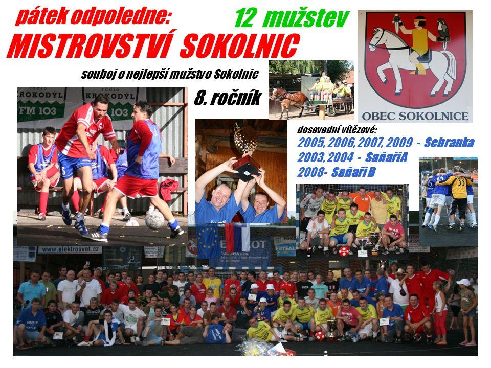pátek odpoledne: MISTROVSTVÍ SOKOLNIC 12 mužstev dosavadní vítězové: 2005, 2006, 2007, 2009 - Sebranka 2003, 2004 - Saňaři A 2008- Saňaři B souboj o nejlepší mužstvo Sokolnic 8.