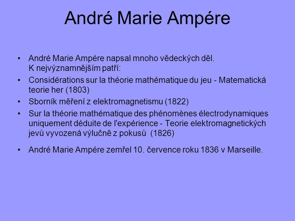 André Marie Ampére André Marie Ampére napsal mnoho vědeckých děl. K nejvýznamnějším patří: Considérations sur la théorie mathématique du jeu - Matemat