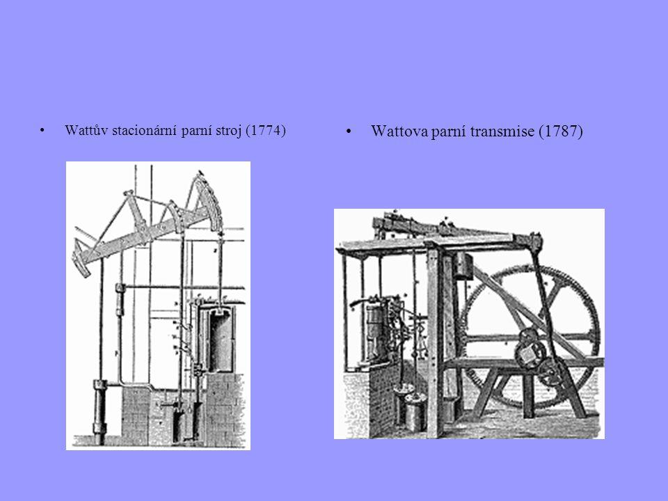 Wattův stacionární parní stroj (1774) Wattova parní transmise (1787)