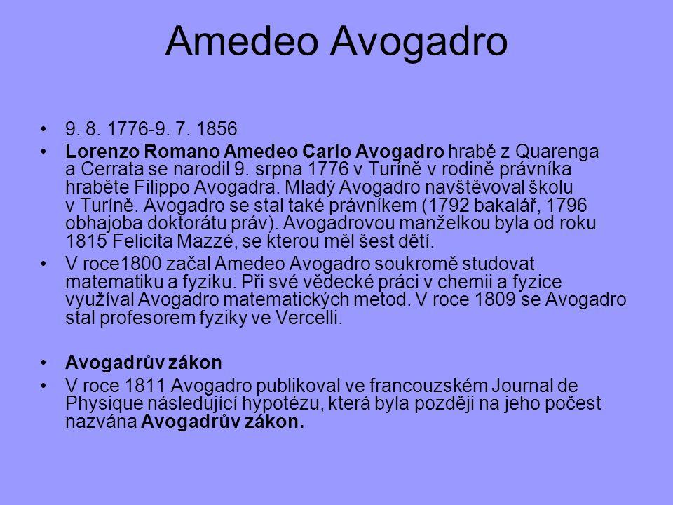 9. 8. 1776-9. 7. 1856 Lorenzo Romano Amedeo Carlo Avogadro hrabě z Quarenga a Cerrata se narodil 9. srpna 1776 v Turíně v rodině právníka hraběte Fili
