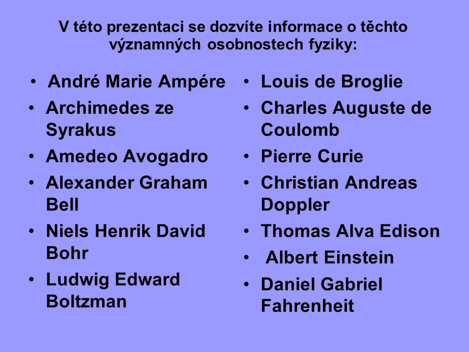 V této prezentaci se dozvíte informace o těchto významných osobnostech fyziky: André Marie Ampére Archimedes ze Syrakus Amedeo Avogadro Alexander Grah