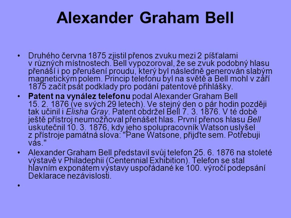 Alexander Graham Bell Druhého června 1875 zjistil přenos zvuku mezi 2 píšťalami v různých místnostech. Bell vypozoroval, že se zvuk podobný hlasu přen