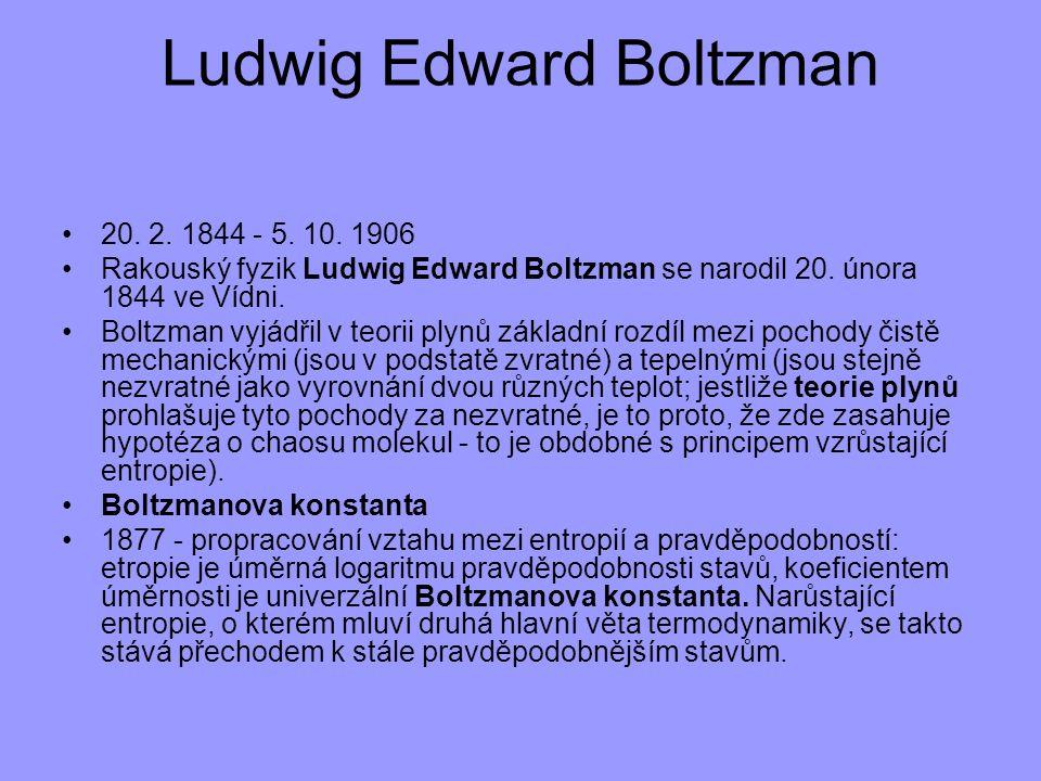 20. 2. 1844 - 5. 10. 1906 Rakouský fyzik Ludwig Edward Boltzman se narodil 20. února 1844 ve Vídni. Boltzman vyjádřil v teorii plynů základní rozdíl m