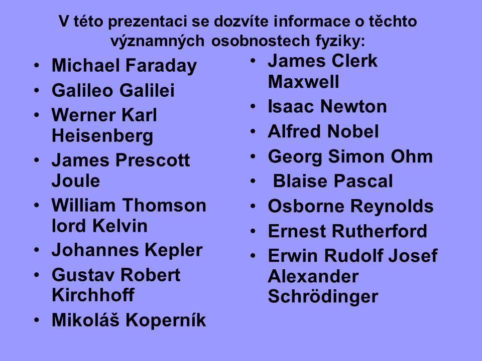 V této prezentaci se dozvíte informace o těchto významných osobnostech fyziky: Michael Faraday Galileo Galilei Werner Karl Heisenberg James Prescott J