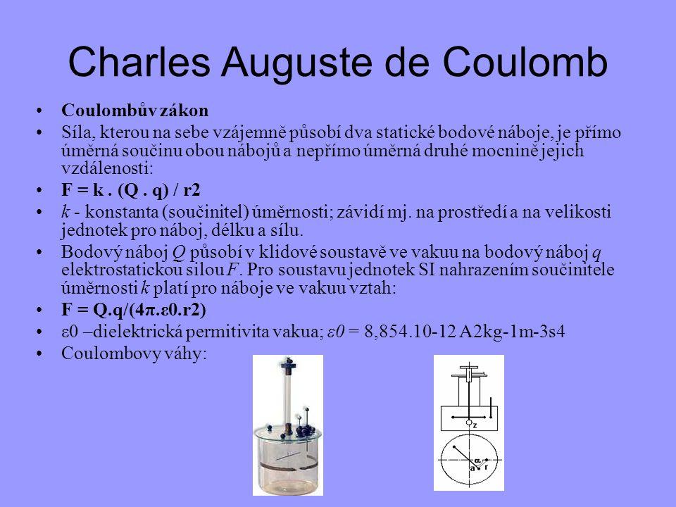 Charles Auguste de Coulomb Coulombův zákon Síla, kterou na sebe vzájemně působí dva statické bodové náboje, je přímo úměrná součinu obou nábojů a nepř