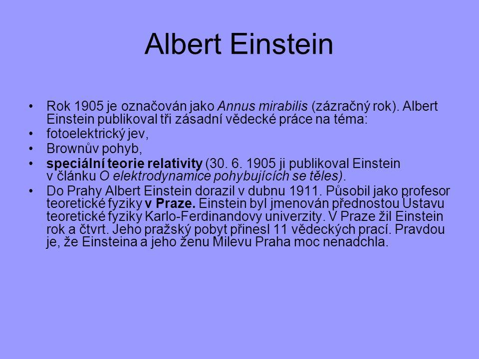 Albert Einstein Rok 1905 je označován jako Annus mirabilis (zázračný rok). Albert Einstein publikoval tři zásadní vědecké práce na téma: fotoelektrick