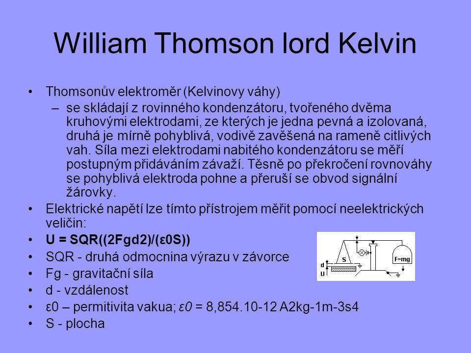 William Thomson lord Kelvin Thomsonův elektroměr (Kelvinovy váhy) –se skládají z rovinného kondenzátoru, tvořeného dvěma kruhovými elektrodami, ze kte