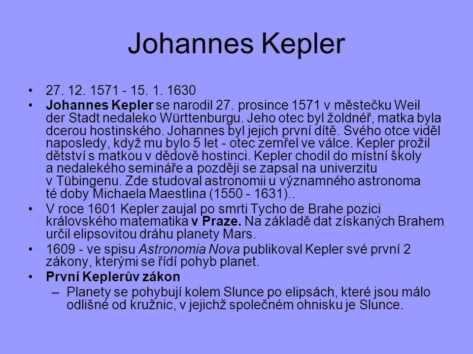 27. 12. 1571 - 15. 1. 1630 Johannes Kepler se narodil 27. prosince 1571 v městečku Weil der Stadt nedaleko Württenburgu. Jeho otec byl žoldnéř, matka