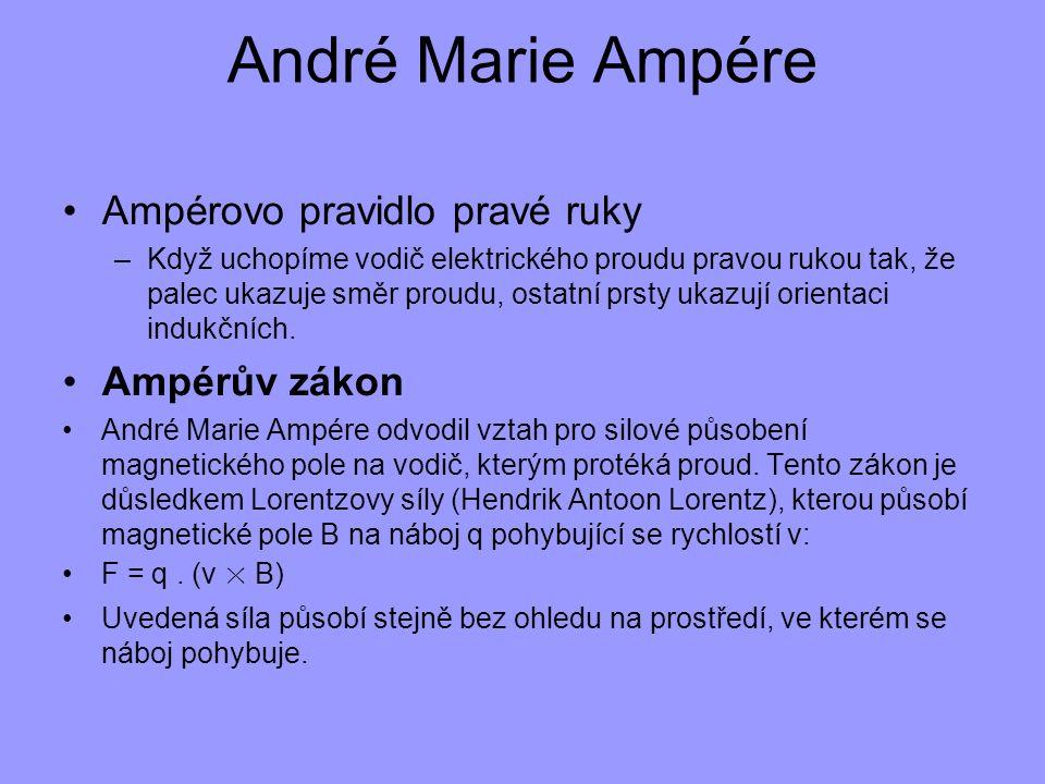 André Marie Ampére Ampérovo pravidlo pravé ruky –Když uchopíme vodič elektrického proudu pravou rukou tak, že palec ukazuje směr proudu, ostatní prsty