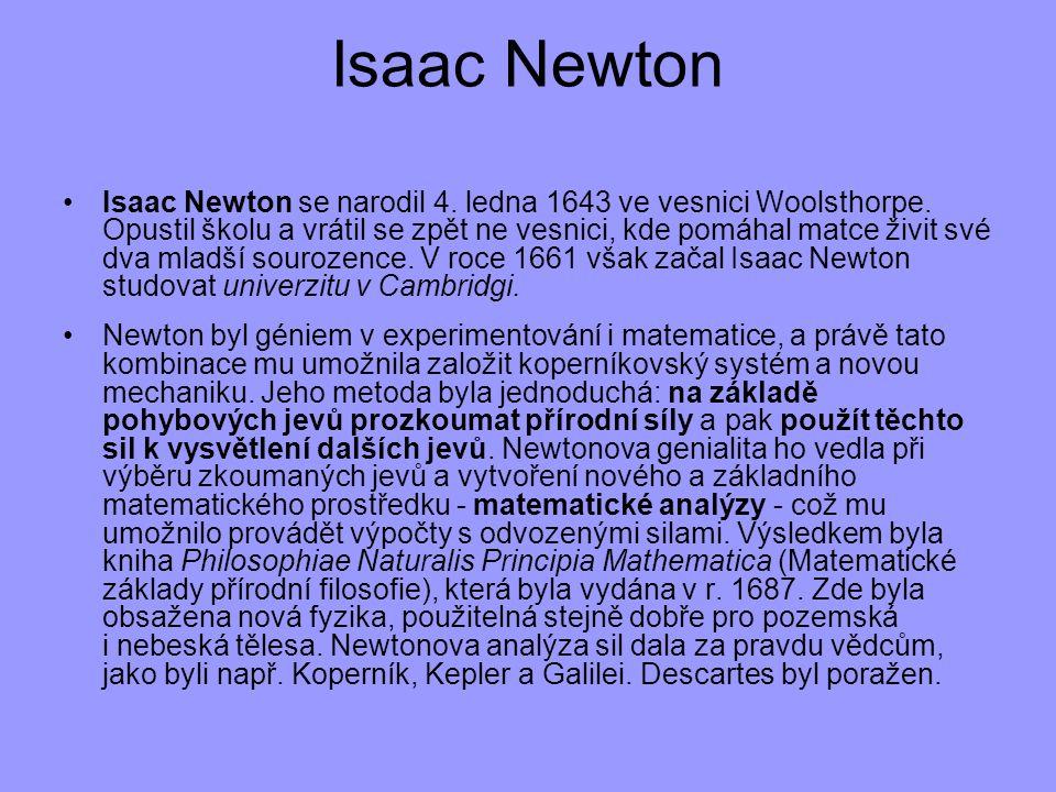 Isaac Newton se narodil 4. ledna 1643 ve vesnici Woolsthorpe. Opustil školu a vrátil se zpět ne vesnici, kde pomáhal matce živit své dva mladší souroz