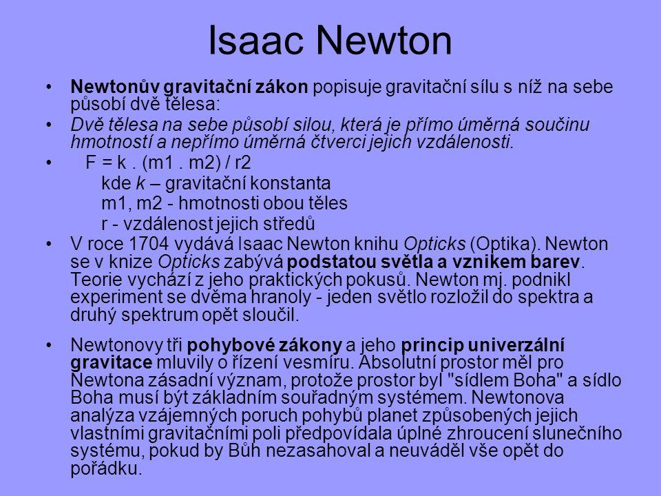 Isaac Newton Newtonův gravitační zákon popisuje gravitační sílu s níž na sebe působí dvě tělesa: Dvě tělesa na sebe působí silou, která je přímo úměrn