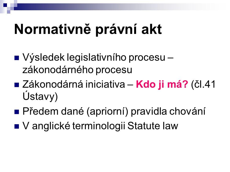 Normativně právní akt Individuální právní akty – rozsudek inter partes Interní normativní akty – instrukce (tzv.paraprávní systém) Normativní právní akty tj.