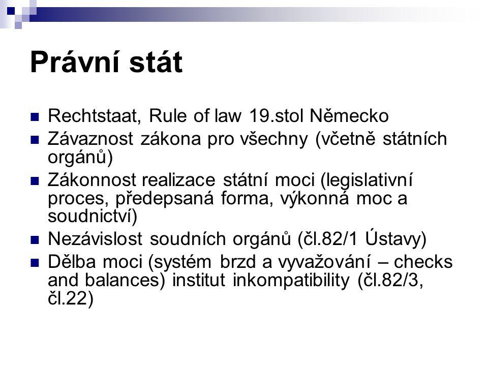 Právní stát Rechtstaat, Rule of law 19.stol Německo Závaznost zákona pro všechny (včetně státních orgánů) Zákonnost realizace státní moci (legislativní proces, předepsaná forma, výkonná moc a soudnictví) Nezávislost soudních orgánů (čl.82/1 Ústavy) Dělba moci (systém brzd a vyvažování – checks and balances) institut inkompatibility (čl.82/3, čl.22)