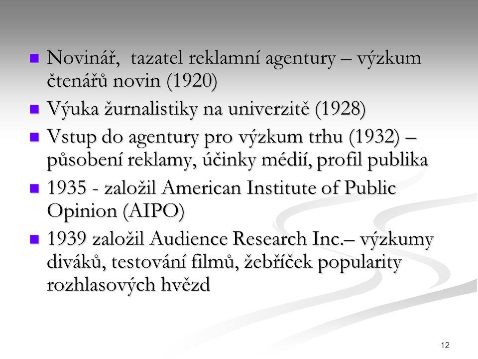 12 Novinář, tazatel reklamní agentury – výzkum čtenářů novin (1920) Novinář, tazatel reklamní agentury – výzkum čtenářů novin (1920) Výuka žurnalistik