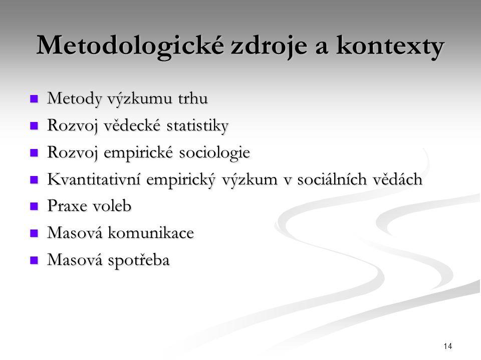 14 Metodologické zdroje a kontexty Metody výzkumu trhu Metody výzkumu trhu Rozvoj vědecké statistiky Rozvoj vědecké statistiky Rozvoj empirické sociol