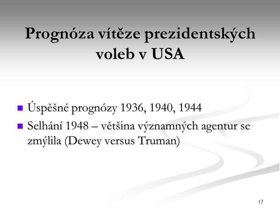 17 Prognóza vítěze prezidentských voleb v USA Úspěšné prognózy 1936, 1940, 1944 Úspěšné prognózy 1936, 1940, 1944 Selhání 1948 – většina významných ag