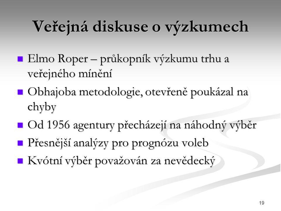 19 Veřejná diskuse o výzkumech Elmo Roper – průkopník výzkumu trhu a veřejného mínění Elmo Roper – průkopník výzkumu trhu a veřejného mínění Obhajoba