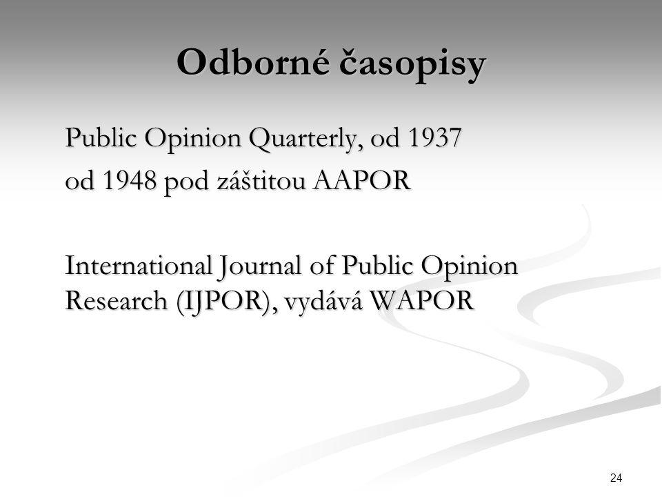 24 Odborné časopisy Public Opinion Quarterly, od 1937 od 1948 pod záštitou AAPOR International Journal of Public Opinion Research (IJPOR), vydává WAPO