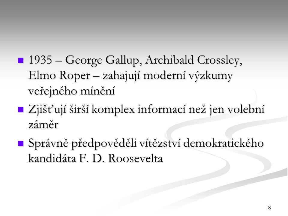 8 1935 – George Gallup, Archibald Crossley, Elmo Roper – zahajují moderní výzkumy veřejného mínění 1935 – George Gallup, Archibald Crossley, Elmo Rope