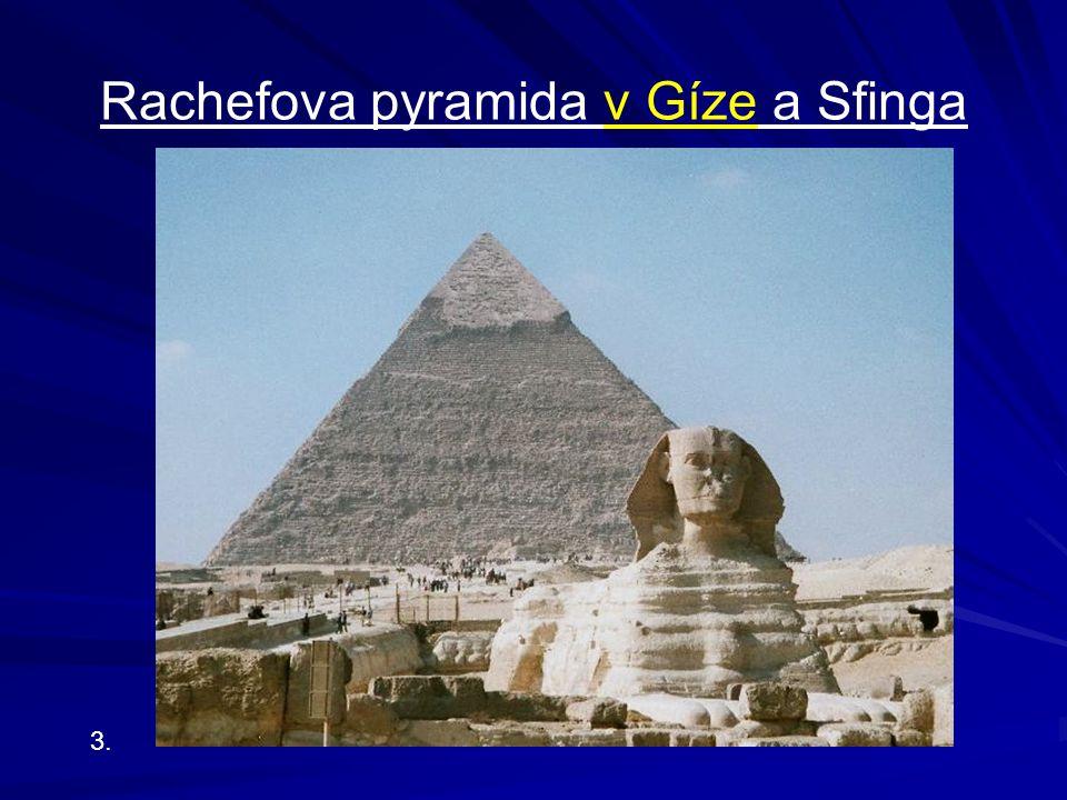 Zajímavosti o pyramidách jediné zachovalé mezi 7 divy světa v Gíze: Cheopsova, Rachefova, Menkaureova kolem 100 pyramid poblíž satelitní, menší hrobky manželek nejstarší: Džoserova, je stupňovitá, nikoli hladká nachází se v Sakkáře na jejich stavbách byla zainteresována třetina či pětina lidí