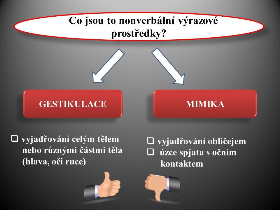 Co Co jsou to nonverbální výrazové prostředky? GESTIKULACE MIMIKA  vyjadřování celým tělem nebo různými částmi těla (hlava, oči ruce)  vyjadřování o