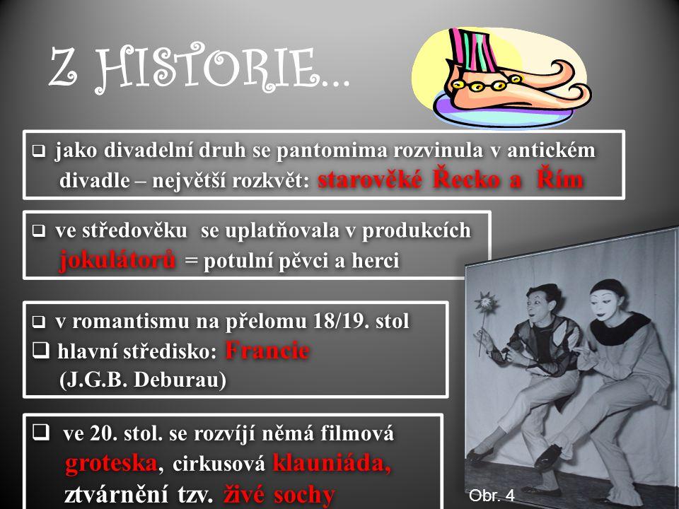 Z HISTORIE…  jako divadelní druh se pantomima rozvinula v antickém divadle – největší rozkvět: starověké Řecko a Řím  jako divadelní druh se pantomi
