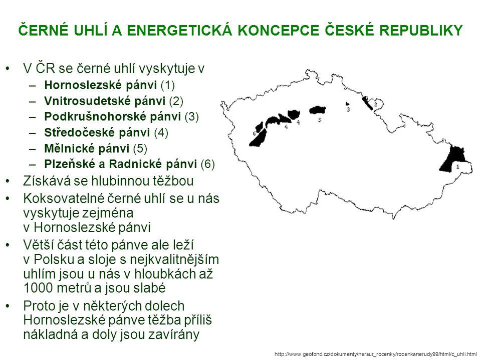 ČERNÉ UHLÍ A ENERGETICKÁ KONCEPCE ČESKÉ REPUBLIKY V ČR se černé uhlí vyskytuje v –Hornoslezské pánvi (1) –Vnitrosudetské pánvi (2) –Podkrušnohorské pánvi (3) –Středočeské pánvi (4) –Mělnické pánvi (5) –Plzeňské a Radnické pánvi (6) Získává se hlubinnou těžbou Koksovatelné černé uhlí se u nás vyskytuje zejména v Hornoslezské pánvi Větší část této pánve ale leží v Polsku a sloje s nejkvalitnějším uhlím jsou u nás v hloubkách až 1000 metrů a jsou slabé Proto je v některých dolech Hornoslezské pánve těžba příliš nákladná a doly jsou zavírány http://www.geofond.cz/dokumenty/nersur_rocenky/rocenkanerudy99/html/c_uhli.html