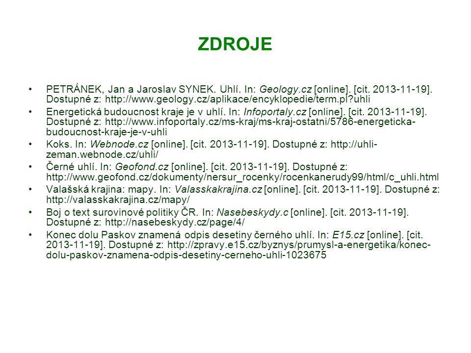 ZDROJE PETRÁNEK, Jan a Jaroslav SYNEK. Uhlí. In: Geology.cz [online].