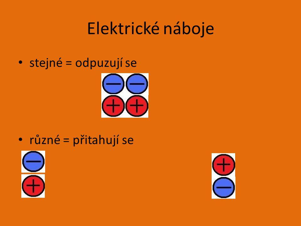 Elektrické náboje stejné = odpuzují se různé = přitahují se