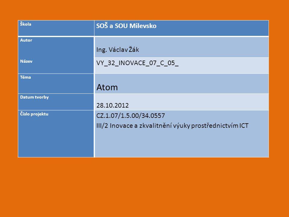 Anotace a metodické pokyny: Tato prezentace je určena pro výuku předmětu Chemie ve 2.