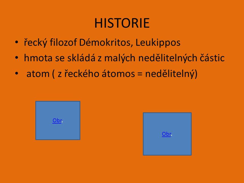 HISTORIE řecký filozof Démokritos, Leukippos hmota se skládá z malých nedělitelných částic atom ( z řeckého átomos = nedělitelný) ObrObr.