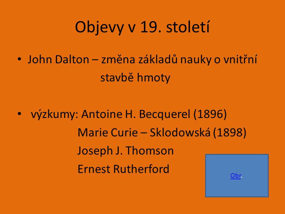 Objevy v 19.století John Dalton – změna základů nauky o vnitřní stavbě hmoty výzkumy: Antoine H.