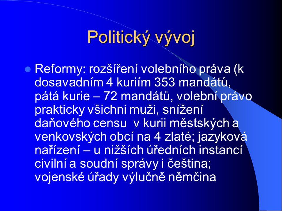 Politický vývoj Reformy: rozšíření volebního práva (k dosavadním 4 kuriím 353 mandátů, pátá kurie – 72 mandátů, volební právo prakticky všichni muži,