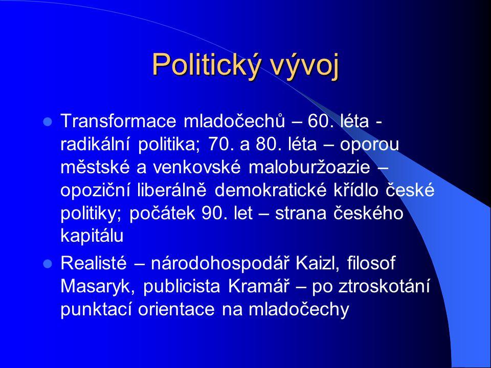Politický vývoj Transformace mladočechů – 60. léta - radikální politika; 70. a 80. léta – oporou městské a venkovské maloburžoazie – opoziční liberáln