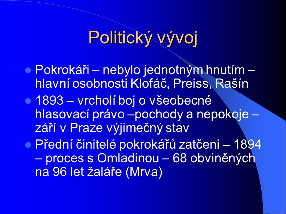 Politický vývoj Pokrokáři – nebylo jednotným hnutím – hlavní osobnosti Klofáč, Preiss, Rašín 1893 – vrcholí boj o všeobecné hlasovací právo –pochody a
