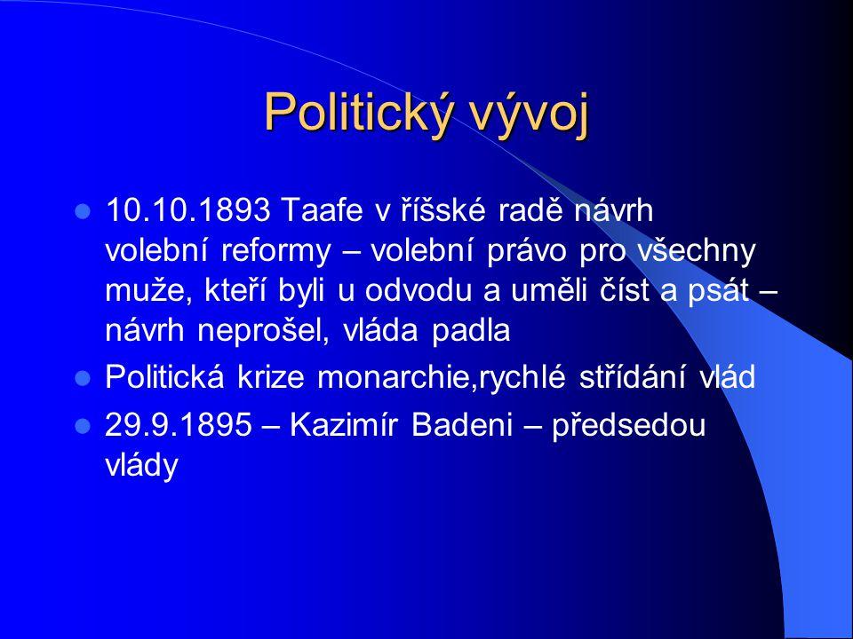 Politický vývoj 10.10.1893 Taafe v říšské radě návrh volební reformy – volební právo pro všechny muže, kteří byli u odvodu a uměli číst a psát – návrh